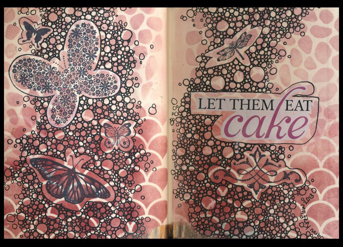 art journal page let them eat cake janni kretlow. Black Bedroom Furniture Sets. Home Design Ideas